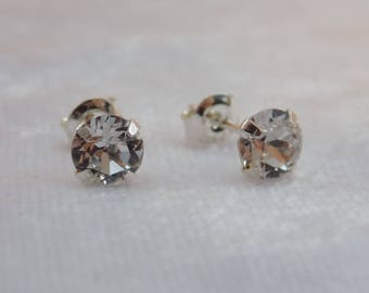 Sterling Silver and Swarovski Crystal Stud Earrings in Clear Crystal