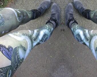 Magical Butterly Octophant Leggings - art leggings, yoga leggings, digital print leggings, boho leggings, phresha leggings