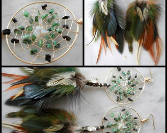 Raw Emerald and Ethiopian Opal Bohemian Hippie Dream Catcher Earrings in Gold with Hand ArrangedFeathers by The Emerald Lotus