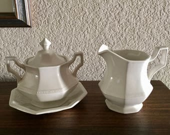 Ironstone Sugar Creamer Set / Vintage White Johnson Bros. Heritage Octagonal Creamer and Sugar Farmhouse Chic