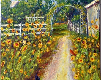 Oil Painting, sunflowers, garden, chickens