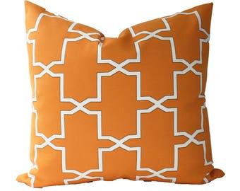 Decorative Designer Indoor Outdoor Geometric Orange Tangerine, Pillow Cover, 18x18, 20x20, 22x22 or Lumbar Throw Pillow