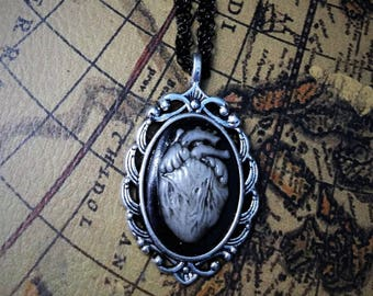 Black and white heart cameo necklace
