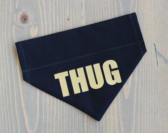 Thug Cat Bandana, Slide on Collar Accessory, Collar NOT included, Pet Clothing, Bandanna, Gold, Black, Handmade in Canada