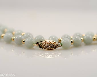 Jade Bead Strand 14k Yellow Gold Necklace Jadeite Green Vintage
