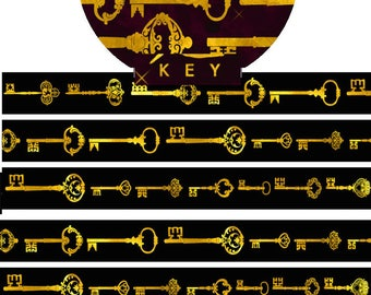 1 Roll Gold Foiled Limited Edition Washi Tape: Golden Keys