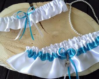 Turquoise and white garter set, Mechanical garter set, Satin garter set, Wrench garter set,  Prom garter, Keepsake and toss garter