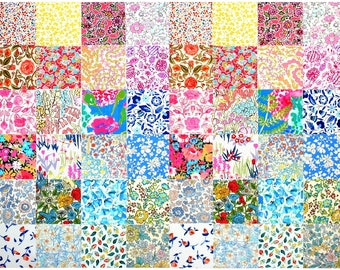 "Liberty of London 2 of each design 48 Mini 2.5"" Charm Square Pack Pretty Pastels Medium Bright Patchwork Quilting Cotton Tana Lawn Fabric"