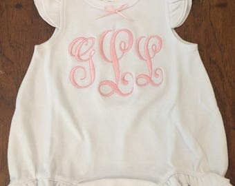 Newborn Girl Take Home outfit -Personalized Baby Girls Ruffle Baby Romper baby girls  - monogrammed - So sweet.