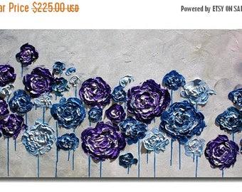 SALE Original  Modern  Purple Blue Flowers   Impasto Painting Palette Knife  Fine Art. Size 48 x 24.