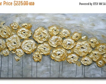 SALE Original Modern  Yellow Gray  Flowers  Heavy  Impasto  Texture  Palette Knife Acrylic   Painting.