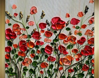 SALE Original  Heavy  Impasto  Coral Flowers    Palette  Knife Acrylic Painting. Made2Order.