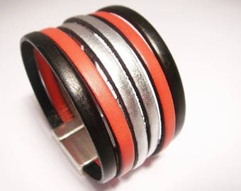 leather cuff black red and silver with silver clasp