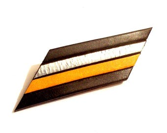 brooch leather black silver and yellow geometric