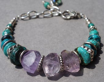Turquoise, Amethyst, and Silver Chunky Bracelet, Gemstone Jewelry