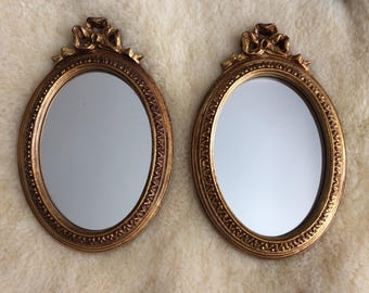 SALE / pair of Windsor Art gold wall mirrors / Hollywood Regency