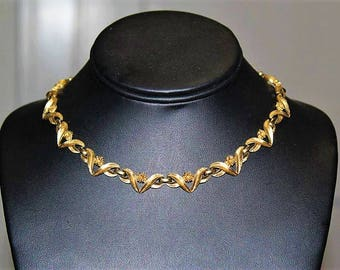 MONET Designer Couture High End Textured Gold Tone Link Choker Necklace ND10