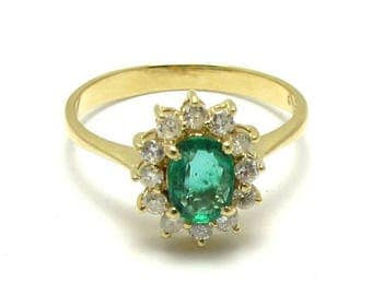 Emerald Ring - 14k Gold Emerald Oval Faceted Cut and Diamonds Cluster Ring - Size 6 1/2 - Weight 3 Grams - May Birthstone # 4003
