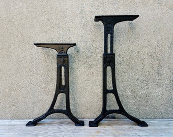 Antique Cast Iron GS Perry & Company Architectural Adjustable Industrial Legs Machine Age
