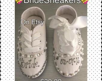Wedding Sneakers*Custom Sneakers*Custom Shoes*Brides Sneakers*Wedding Custom Sneakers*