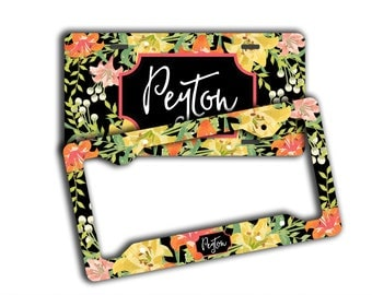 Monogrammed floral custom license plate with name, Black yellow orange, Christmas present for first car drivers, Sweet 16 gift pretty (1810)