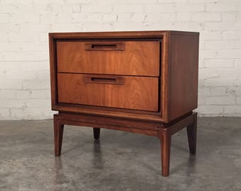 Mid-Century Danish Modern 2-Drawer Walnut Nightstand - SHIPPING NOT INCLUDED