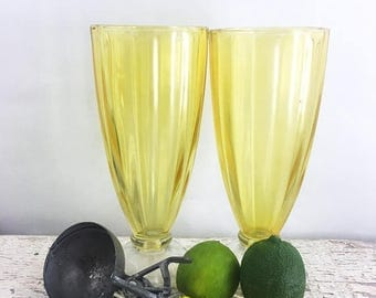 SUMMER SALE Vintage Frosted Yellow Soda Fountain Glasses