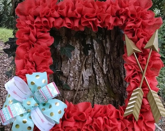 Square coral and teal burlap wreath