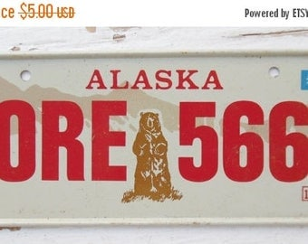 ON SALE Vintage, Alaska, 1980, Bike Plate, Bicycle, License Plate, Cereal Premium, Miniature, Tin, Collectibles