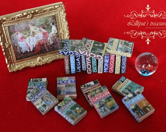 Dollhouse miniature set of 11 art's books