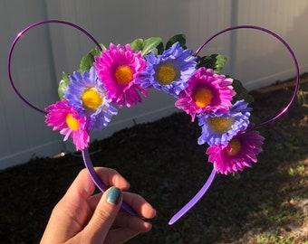 Purple Daisy Flower Crown Ears