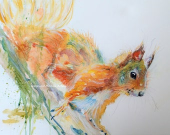 Red Squirrel Print Morena Artina Wild Animal wildlife painting