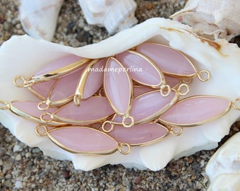 pink jade connector marquoise gold plated bezel light pink bezeled gemstone station turkish jewelry supplies findings