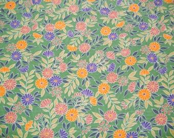 RARE Seagreen Kiku Vintage Japanese rinzu silk kimono fabric