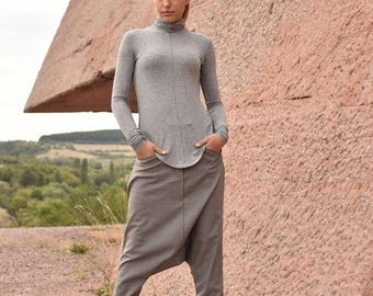 NEW Collection Light Grey Drop Crotch  Pants / Extravagant Gray  Cold Wool  Trousers by AAKASHA A05188