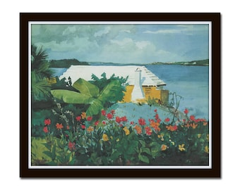 Vintage Tropical Painting No. 1, Giclee, Wall Art, Art, Print, Home Decor, Beach Cottage Decor, Coastal Art, Reproduction Giclee Print