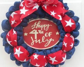July 4th wreath Fourth of July wreath Patriotic wreath Patriotic decor Red white blue wreath Independence day burlap wreath Blue wreath RTS