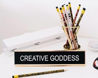 Funny Desk Sign, Office Sign, Office Decor, Desk Name Tag, Gifts for Teachers, Christmas Gift, Nameplate Desk Sign, Custom Desk Sign