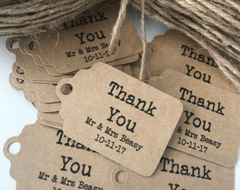 50 x  Personalised Kraft Paper Thank You Tags with Names and Date