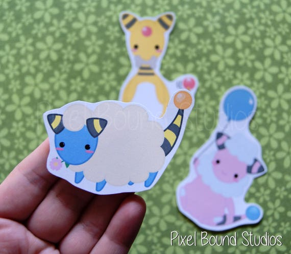 chibi mareep  flaaffy  ampharos stickers and magnets