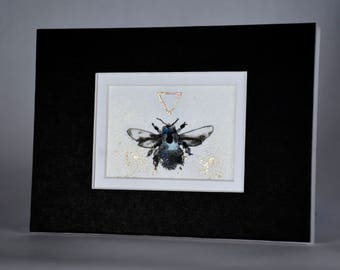 Original Painting of a Blue Bee / Ink, Gold Leaf, Copper Leaf, Glass, Metallic Pigment / Matted and Ready to Frame