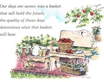 Baskets in the Garden Art print Artist Signed 8 x 10 Giclee Art Print Garden Longaberger Baskets