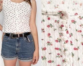 90's Ty Cropped Floral Tank