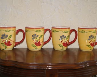 Collectible Set Of 4 Pfaltzgraff Everyday Ceramic Mugs Or Cups Palermo Pattern Multi Color