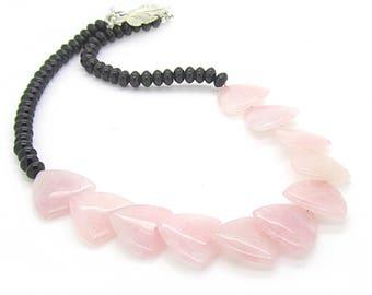 Rose Quartz Statement Necklace, Large Gemstone Chunky Necklace, Rose Quartz Jewellery, Real Stone Jewellery, Large Necklace