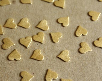 20 pc. Raw Brass Frosted Hearts: 8mm by 8mm - made in USA | RB-1053