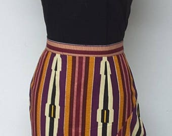 AYALUX Collection. Fully Lined Asymetrical Peplum Pencil Skirt. Womens. Handmade. African Print Skirt.