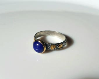 Sterling silver and gold deep blue lapis lazuli ring, oxidized snake ring, size 8