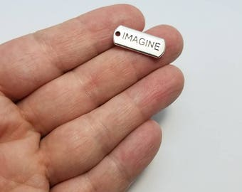 Silver IMAGINE Charms, 6 IMAGINE Charms, Imagine Charms, Imagine Word Charms