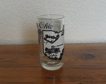 Vintage State of Ohio Drinking Glass- Big Top Peanut Butter State Song Hazel Atlas Buckeye State